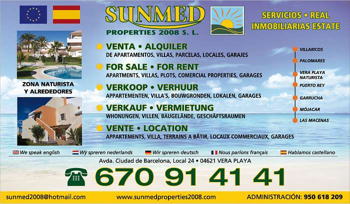 Su inmobiliaria naturista en Vera Playa