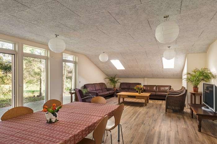 Het Reterink (9) - De vakantiewoningen kunnen verbonden worden en grotere groepen kunnen dan de huiskamer erbij huren. Grote zithoek, eettafels en keuken met grote koelkast en vaatwasser