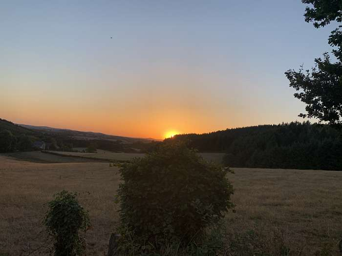 Vue exceptionnelle du coucher de soleil